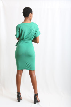 O' Neck Green Dress