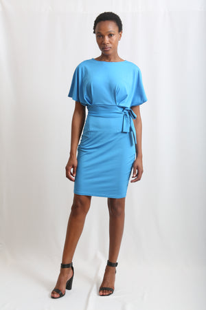 O'neck blue dress knee length tight fitting stretching material