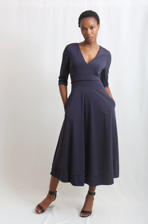 Deep Vneck maxi long Navy dress