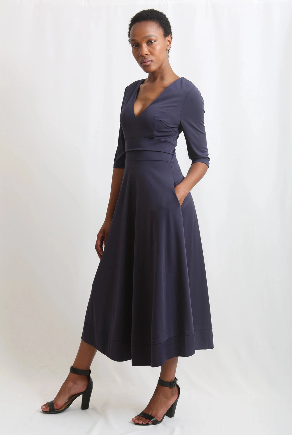 Deep Vneck maxi long dress navy available in size small to xxxl in stretchable material at Zinhleolivia.com