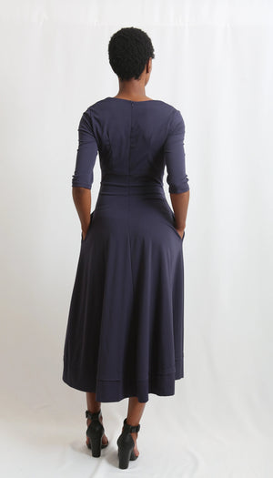 Deep -Vneck- Maxi-long-Navy dress