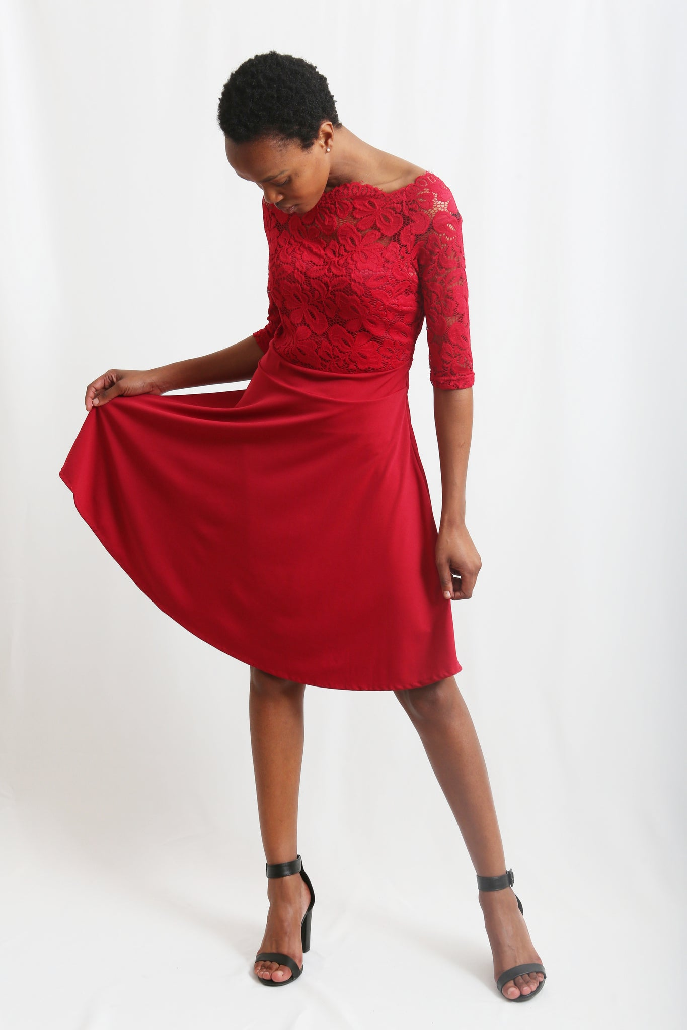 Boat neck lace top A-Line dress- Wine Red