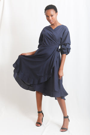 Cotton Wrap dress - Navy