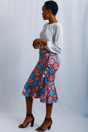 Scuba african print skirt, stretching material, tight fit, asymmetric shaped  Blue, Maroon African print, ruffle side detail
