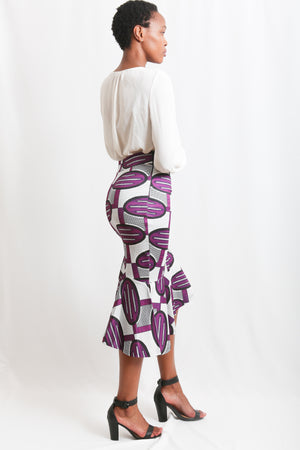 Scuba African print skirt, stretching material, tight fit, asymmetric shaped  Purple and white print