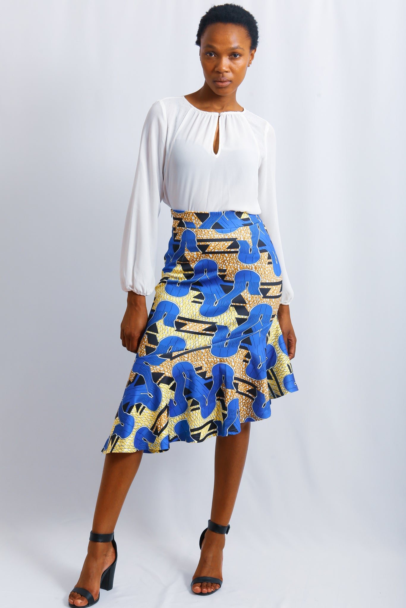 Scuba African Print skirt, stretching material, tight fit, asymmetric shaped  Navy, Yellow print
