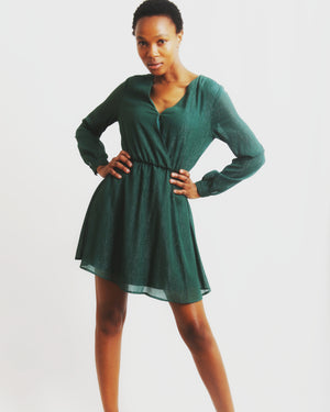 Metallic Deep V-neck short dress - Pine Green