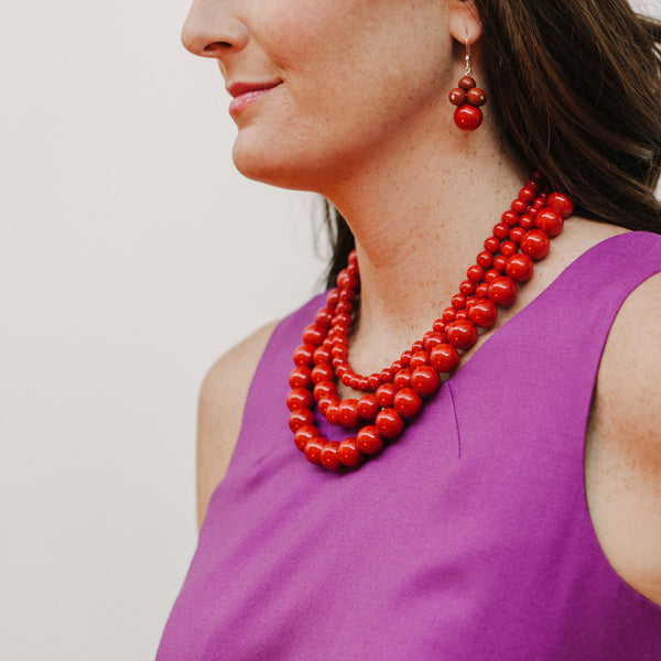 Red Stone Jewelry with Purple Dress