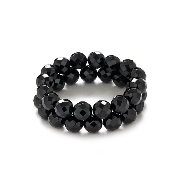 Faceted Black Onyx Bracelet Stack