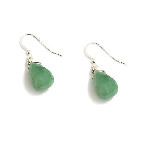 Sparkling Sage Teardrop Earrings in Green Aventurine