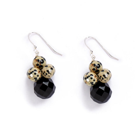 Black Onyx Leopard Earrings