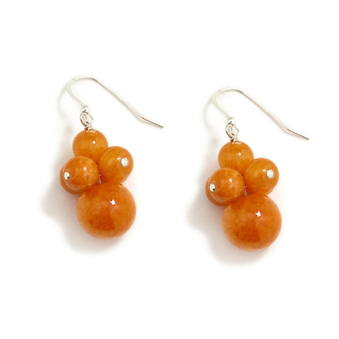 Butterscotch Orange Jade Cluster Earrings in Sterling Siler