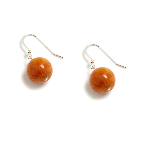Butterscotch Orange Jade Drop Earrings in Sterling Silver
