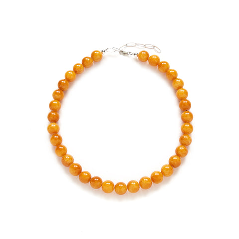Chunky Butterscotch Necklace in Amber Jade