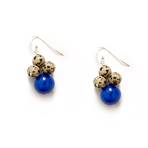 Animal Print Indigo Blue Earrings