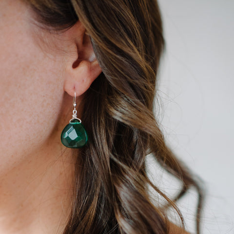 Dark Green Earring - Quartz Teardrop