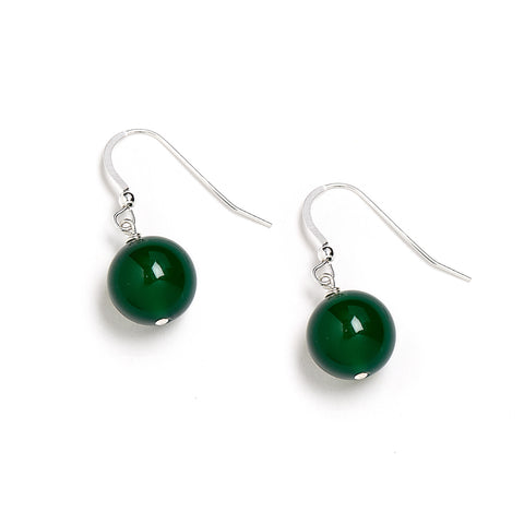 Dark Green Onyx Earrings
