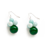 Dark Green Jade and Light Blue Earrings