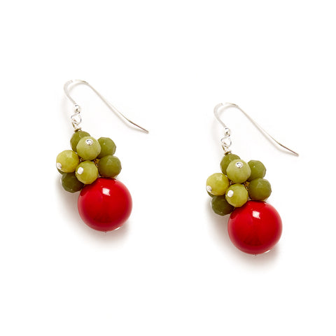 Red Green Cluster Christmas Earrings