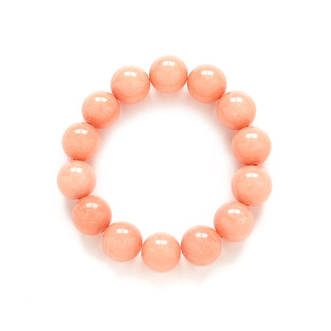 Peach Pearl Beaded Bracelet in Coral Jade