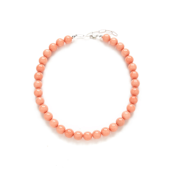 Chunky Peach Pearl Necklace in Coral Jade
