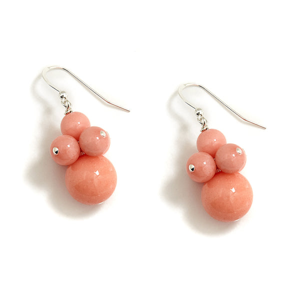 Peach Pearl Cluster Earrings in Coral Jade