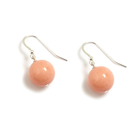 Peach Pearl Earrings in Coral Jade