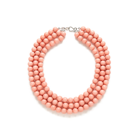 Luxe Peach Pearl Statement Necklace in Coral Jade