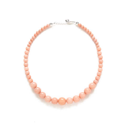 Petite Peach Pearl Necklace in Coral Jade