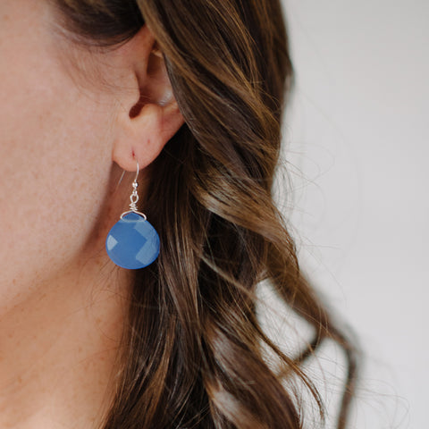 Silver Blue Quartz Earring - Dangle