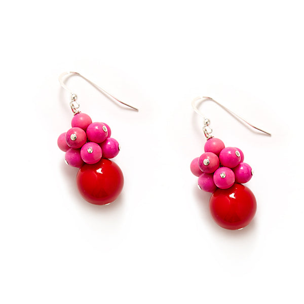 Red Hot Pink Cluster Earrings and Sterling Silver
