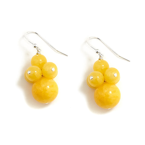 Yellow Silver Cluster Earrings