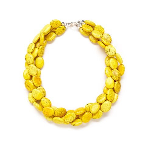 banana yellow beaded necklace
