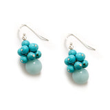 Mint Blue Turquoise Cluster Earrings in Sterling Silver