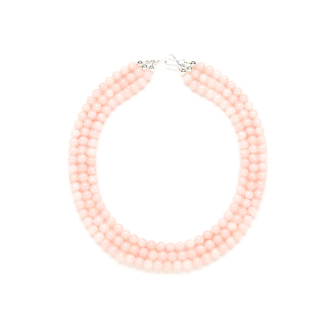 Mini Luxe Blush Jade Necklace in Pale Pink