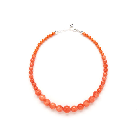 Petite Coral Pumpkin Necklace in Orange Jade