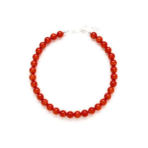 Chunky Fiesta Flame Necklace in Red Jade