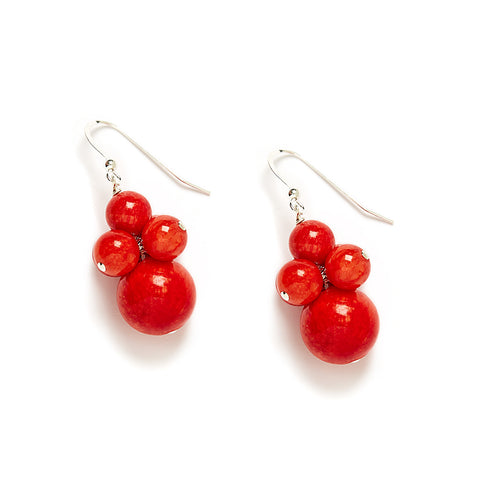 Fiesta Flame Cluster Earrings in Red Jade