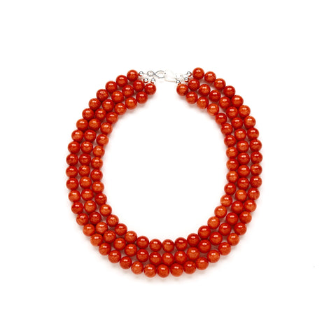 Luxe Fiesta Flame Necklace in Red Jade