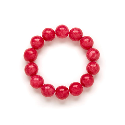Chunky Raspberry Beaded Bracelet in Pink Jade