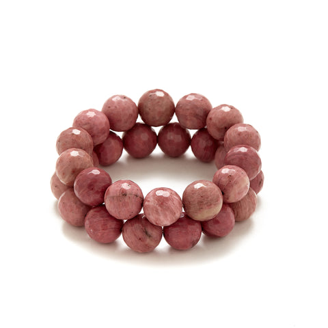 Chunky Dusty Pink Beaded Bracelet in Rhodonite