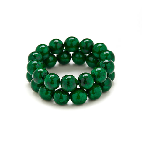 Chunky Jungle Bracelet in Green Jade