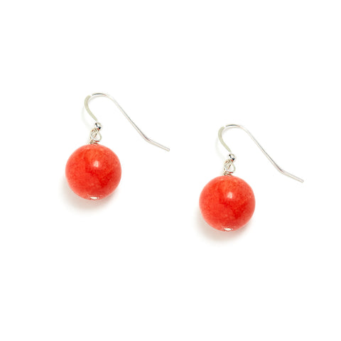 Coral Orange Drop Earring - Sterling Silver - Orange Jade