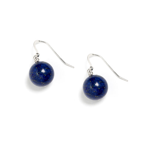 Navy Lapis Lazuli Beaded Earrings
