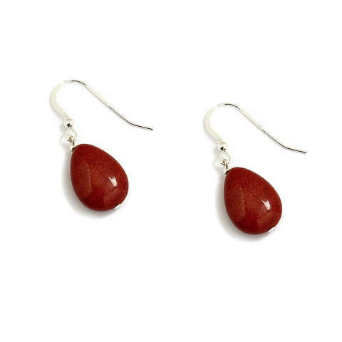 Burnt Terracotta Teardrop Earrings in Sterling Silver