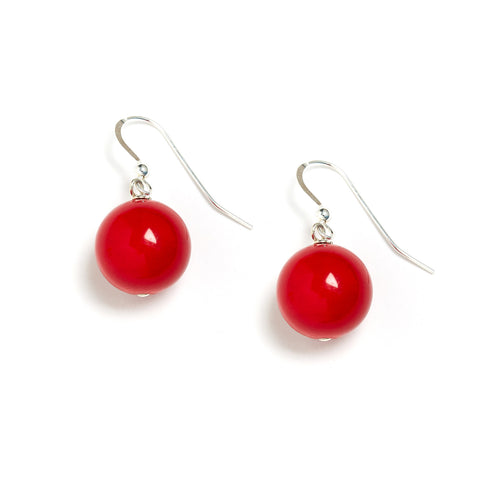 Red Jade Earring Sterling Silver