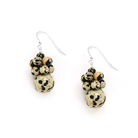 Spotted Cluster Earrings in Natural Jasper