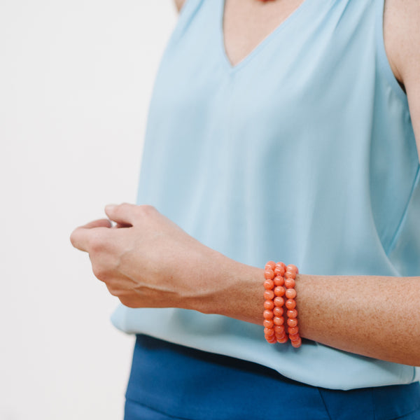 Petite Coral Pumpkin Bracelet in Orange Jade
