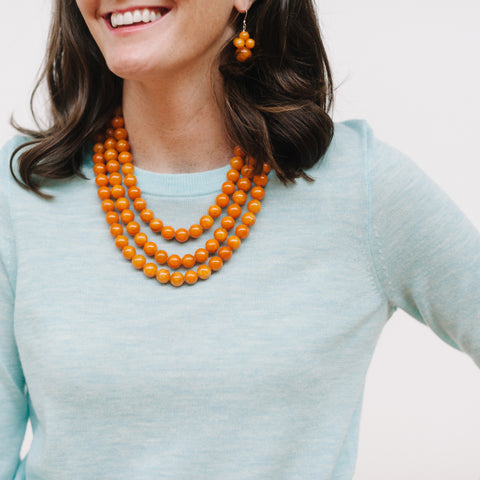 Luxe Butterscotch Necklace in Amber Jade