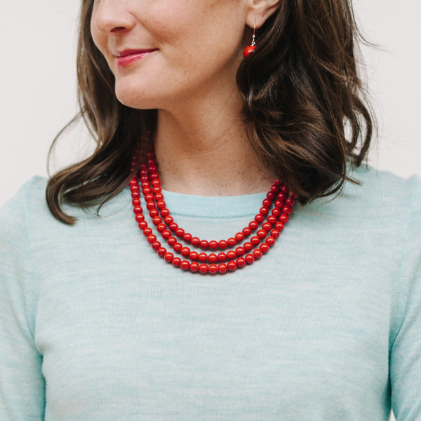 Mini Luxe Merry Cherry Necklace in Red Jade